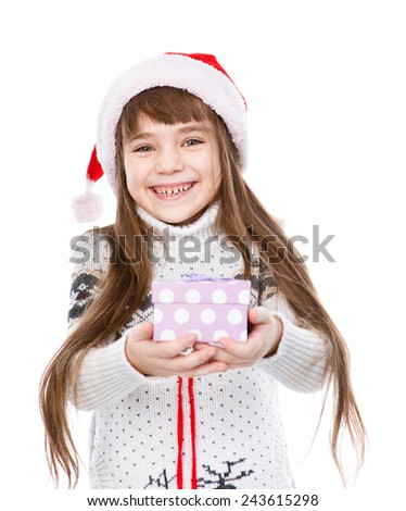 happy girl gives a gift. isolated on white background - stock photo