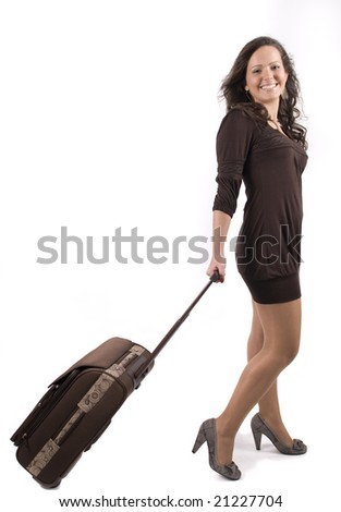 happy girl going on vacation with her suitcase over a white background