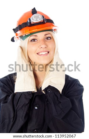 happy girl in a construction helmet isolated on white background
