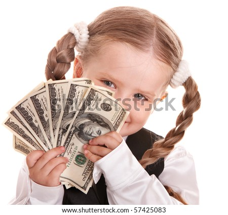 Happy girl  in business suit with money dollar. Isolated. - stock photo