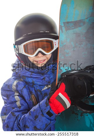 Happy girl in ski gear and snowboard, isolated on white. - stock photo