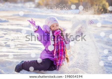 happy girl in winter park - stock photo
