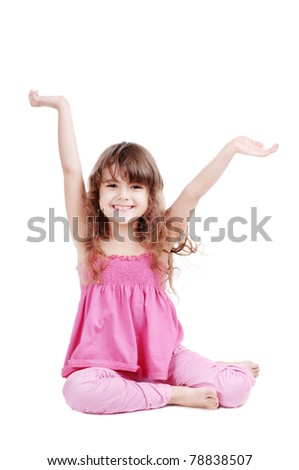 Happy girl isolated on white - stock photo