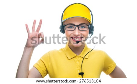 Happy girl on helpline operator showing the sign good or o.k  in call center, isolated on white background.Close-up of woman in a call service or helpline - stock photo