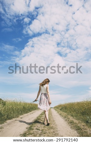 happy girl on the road - stock photo