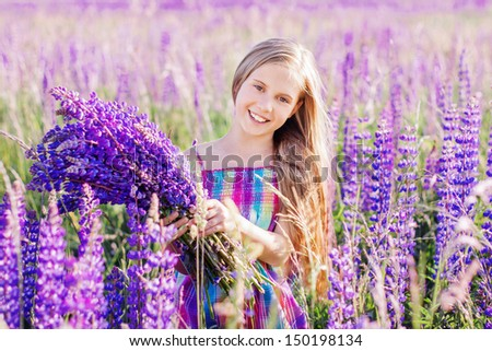 happy girl outdoor - stock photo