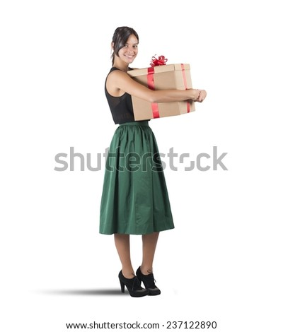 Happy girl received the gift she wanted - stock photo