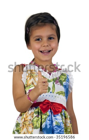 Happy girl showing okay sign - stock photo