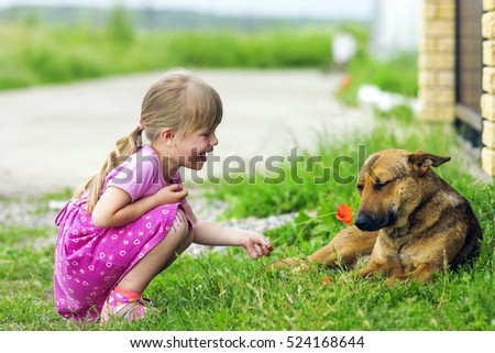 Happy girl shows red flower to a dog