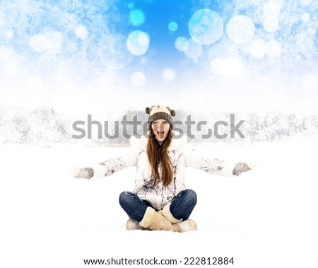 happy girl throws snow in winter - stock photo