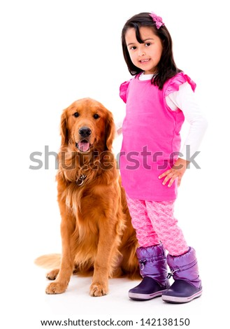 Happy girl with a beautiful dog - isolated over white background - stock photo