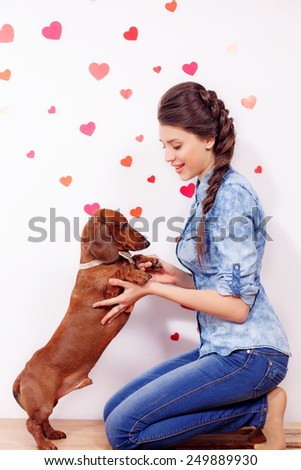 happy girl with a dog dachshund against the background of the heart. close-up,Valentine's Day, March 8  - stock photo