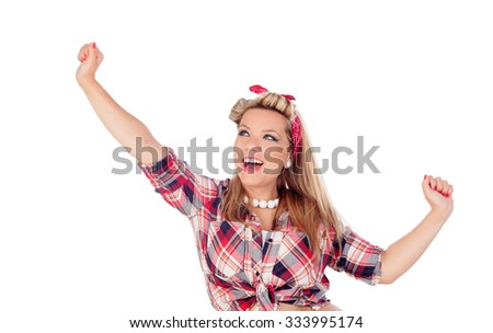 Happy girl with arms up in pinup style isolated on a white background - stock photo