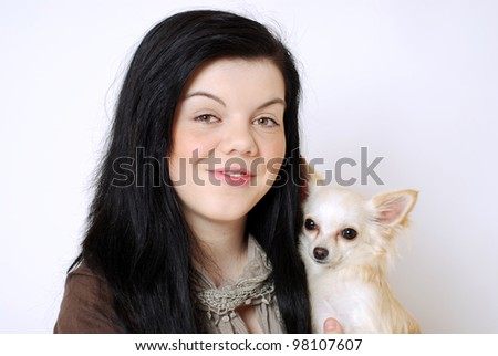 happy girl with chihuahua