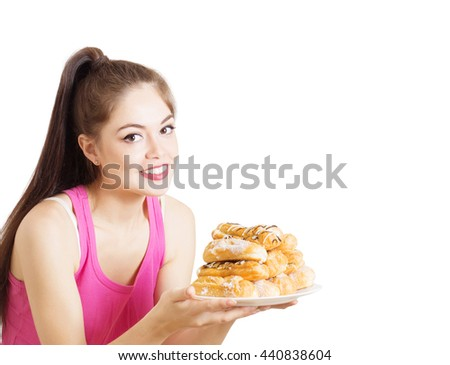 happy girl with dessert isolated on white - stock photo