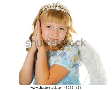 Happy girl with diadem and angel wings, isolated on white - stock photo