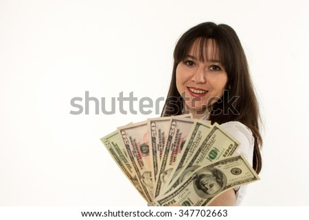 happy girl with dollars in hand on white background