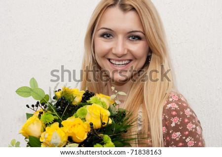 Happy girl with flower. - stock photo