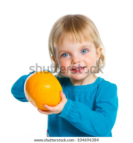 Happy girl with orange, isolated on white background
