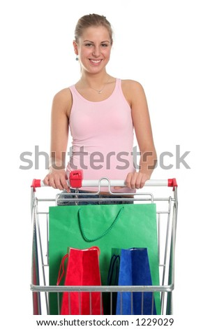 Happy girl with shopping cart