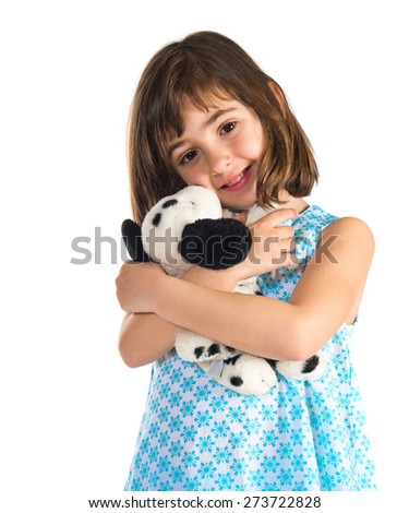 Happy girl with teddy - stock photo