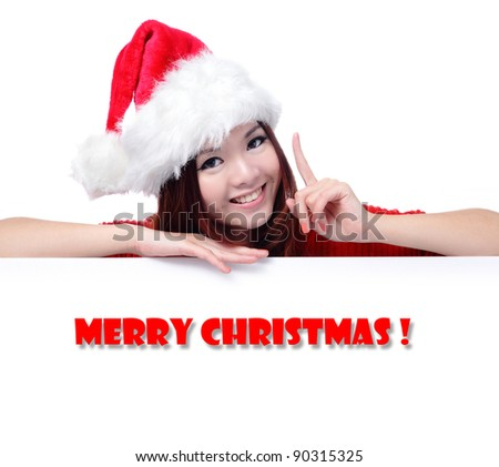 "Happy Girl with Text ""Merry Christ"", Model is a cute asian beauty,  isolated on white background - stock photo"