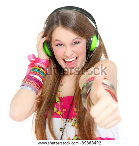 happy girl with thumbs up listening to music