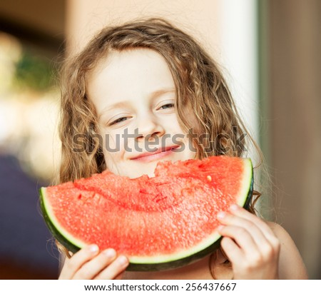 happy girl with watermelon