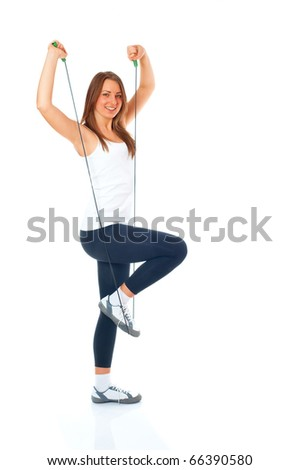 Happy girl workout - stock photo