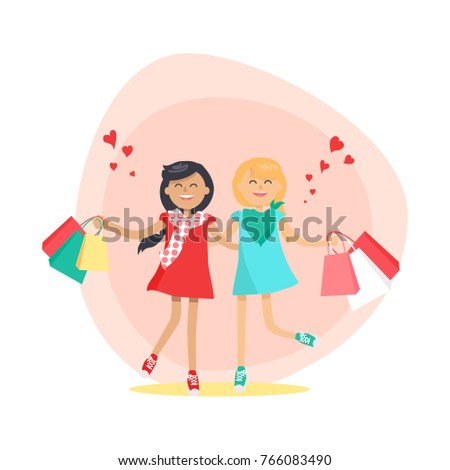 Cartoon Girls Holding Hands In Circle
