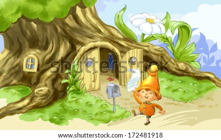 Happy gnome with a letter in his hand. Cartoon illustration.  - stock photo