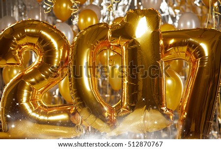 Happy 2017 gold New Year Balloons
