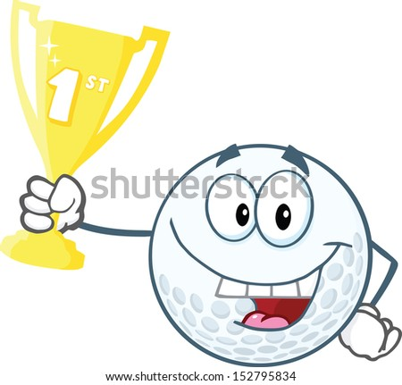 Happy Golf Ball Holding First Prize Trophy Cup. Raster Illustration - stock photo