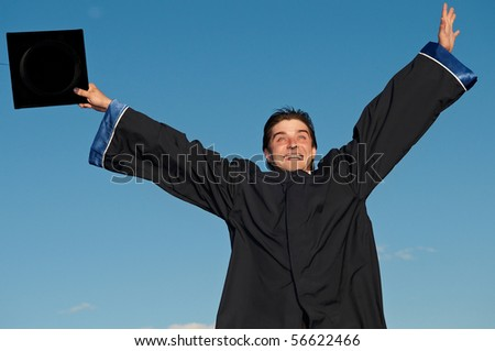 happy graduate student in cloak with open arms over blue sky