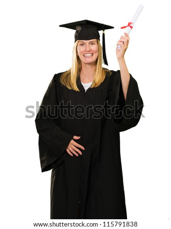 Happy Graduate Woman Holding Certificate On White Background