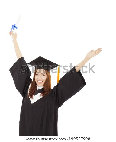 happy Graduate woman Holding Degree and isolated on white