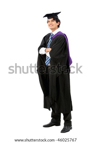 Happy graduated man isolated over a white background