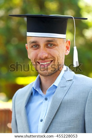 Happy graduateing student wearing graduation  hat