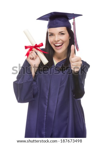 Happy Graduating Mixed Race Female Wearing Cap and Gown with Her Diploma Isolated on White Background. - stock photo