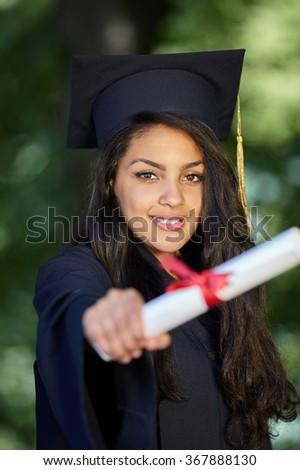 Happy Graduating Mixed Race Woman - stock photo