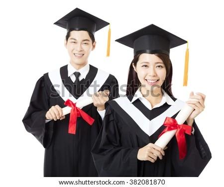 happy Graduation man and woman education students - stock photo