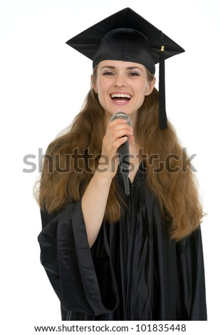 Happy graduation student woman speaking microphone