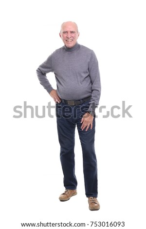 Happy Grandfather in front of a white background