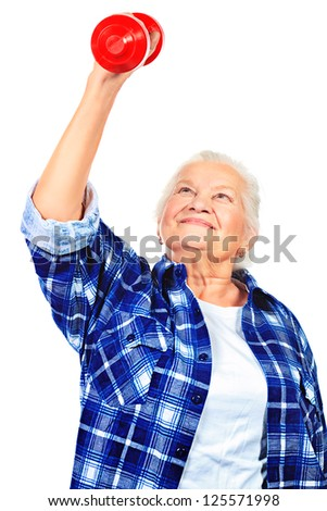 Happy grandma doing exercises with dumbbells. Isolated over white. - stock photo