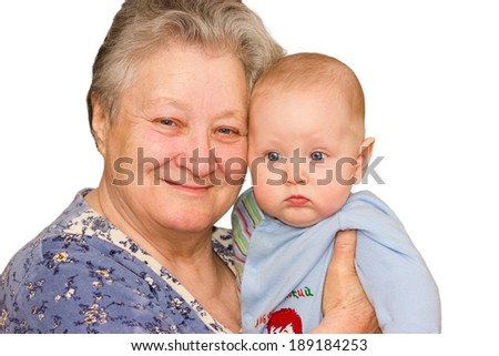 happy grandma with grandson embracing