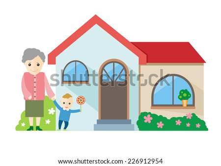 Happy grandmother playing with her grandchildren near house. Raster version - stock photo