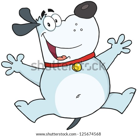 Happy Gray Fat Dog Jumping. Raster Illustration.Vector version also available in portfolio.
