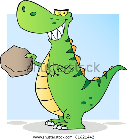 Happy Green Dinosaur Raster illustration. Vector version is also available - stock photo