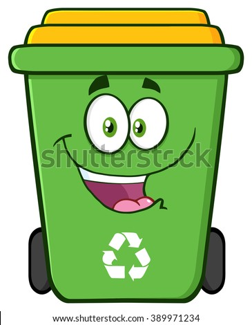 Happy Green Recycle Bin Cartoon Character. Raster Illustration Isolated On White Background - stock photo