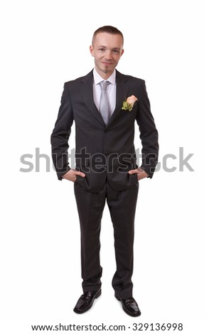 Happy groom, isolated on white with shadow on the floor